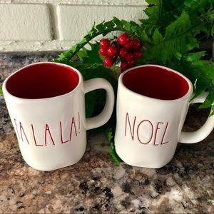 Rae Dunn FA LA LA and NOEL Mugs
